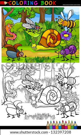 Coloring Book or Coloring Page Cartoon Vector Illustration of Funny Insects or Bugs on the Meadow for Children Education - stock vector