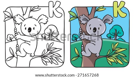 coloring book or coloring picture with funny koala bear on eucaliptus tree alphabet k
