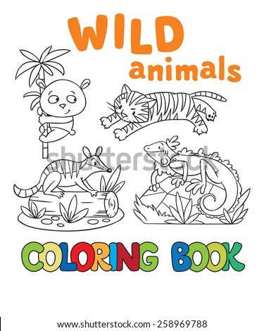 Coloring book or coloring picture with wild animals, tiger, panda, numbat, iguana - stock vector