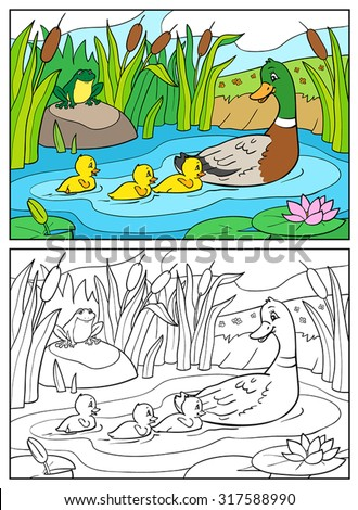 Coloring book or page Cartoon Illustration. Mother duck and ducklings with frog. Mallard duck and baby ducklings. - stock vector