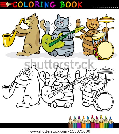 Coloring Book or Page Cartoon Illustration of Funny Cats Music Band for Children - stock vector