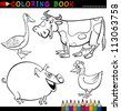 Coloring Book or Page Cartoon Illustration of Funny Farm and Livestock Animals for Children - stock vector