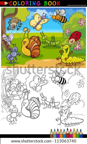 Coloring Book or Page Cartoon Illustration of Funny Insects and Bugs for Children - stock vector