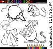 Coloring Book or Page Cartoon Illustration of Funny Rats and Mouses for Children - stock vector