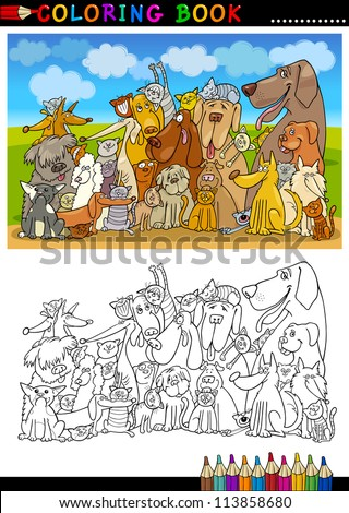 Coloring Book or Page Cartoon Illustration of Funny Sitting Dogs Group against Blue Sky for Children - stock vector