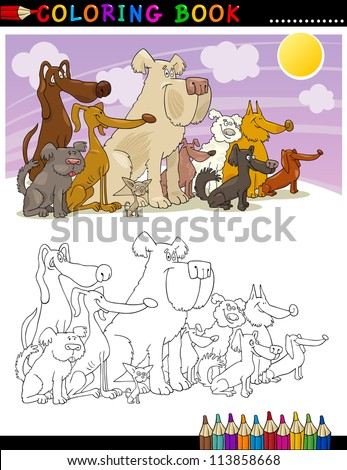 Coloring Book or Page Cartoon Illustration of Funny Sitting Dogs Group for Children - stock vector