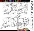 Coloring Book or Page Cartoon Illustration of Funny Wild and Safari Animals for Children - stock vector