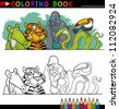 Coloring Book or Page Cartoon Illustration of Funny Wild Animals for Children Education - stock photo