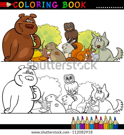 Coloring Book or Page Cartoon Illustration of Funny Wild Animals for Children Education - stock vector