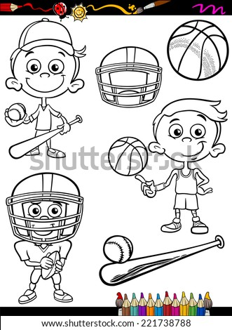 Coloring Book or Page Cartoon Vector Illustration of Black and White Boy Kid Playing Baseball and Basketball and American Football Set for Children - stock vector