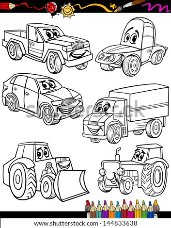 Coloring Book or Page Cartoon Vector Illustration of Black and White Cars or Trucks Vehicles and Machines Comic Characters Set for Children Education - stock vector