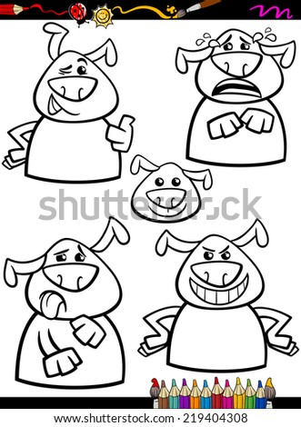 Coloring Book or Page Cartoon Vector Illustration of Black and White Funny Dogs Expressing Emotions Set for Children - stock vector