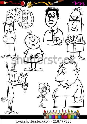 Coloring Book or Page Cartoon Vector Illustration of Black and White Funny People Characters Set