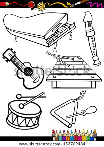Coloring Book or Page Cartoon Vector Illustration of Black and White Music Instruments Objects Set for Children Education - stock vector