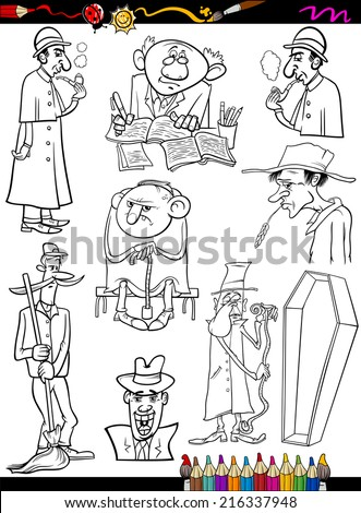 Coloring Book or Page Cartoon Vector Illustration of Black and White Retro People Characters Set for Children - stock vector