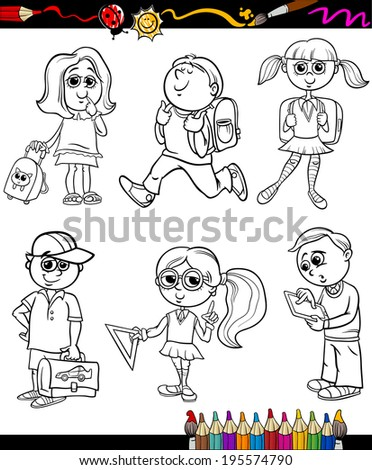 Coloring Book or Page Cartoon Vector Illustration of Color and Black and White Primary School Students or Pupils Boys and Girls Characters Set for Children - stock vector