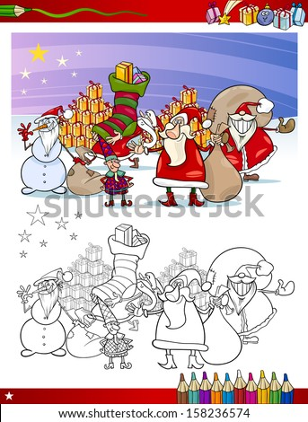 Coloring Book or Page Cartoon Vector Illustration of Themes Set with Santa Claus Group with Christmas Presents and Decorations for Children - stock vector