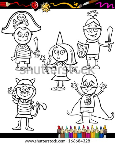 Coloring Book or Page Cartoon Vector Illustration Set of Black and White Cute Little Children Characters in Ball Costumes - stock vector
