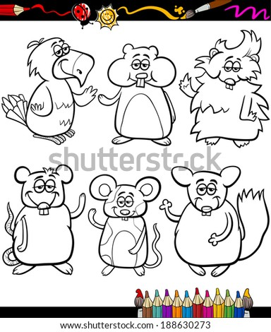 Coloring Book or Page Cartoon Vector Illustration Set of Black and White Cute Pets Animals Characters for Children