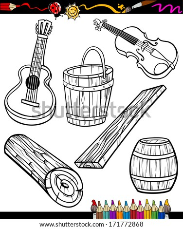 Coloring Book or Page Cartoon Vector Illustration Set of Black and White Wooden Objects for Children - stock vector