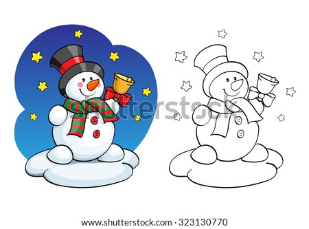 Coloring book or page, illustration. Card concept - Cute snowman. - stock vector