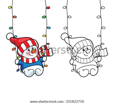 Coloring book or page, illustration. Christmas card concept - Cute kid snowman. - stock vector