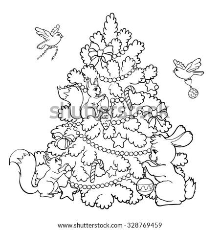 Coloring Book Page Rabbit Squirrels Birds Stock Vector ...
