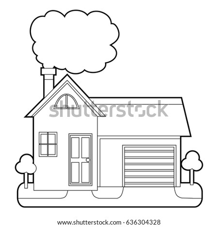 Coloring Book Outlined House With Chimney Smoke