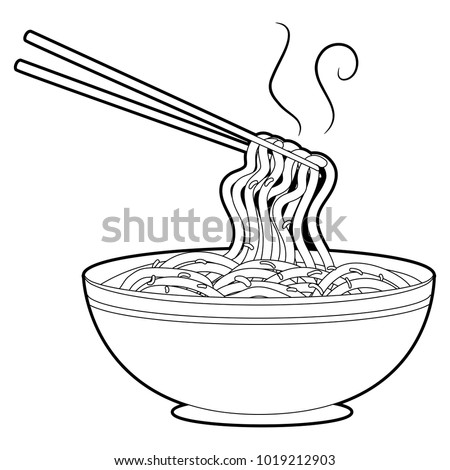 Coloring Book Outlined Noodles Soup Chopsticks Stock