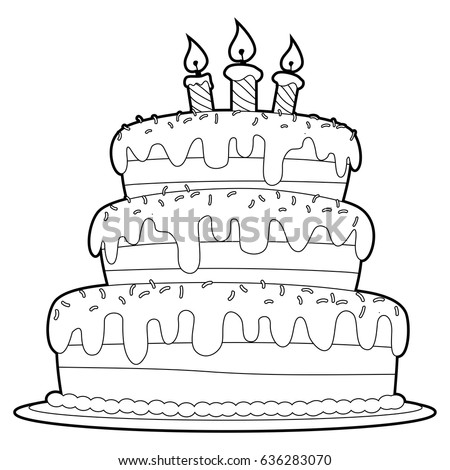 Coloring Book Outlined Three Layer Cake Stock Vector 636283070 ...