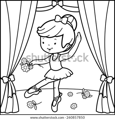 Coloring book page ballerina girl dancing on stage. Black and white outline image of a cute ballerina dancer girl, dancing on stage holding flowers. - stock vector