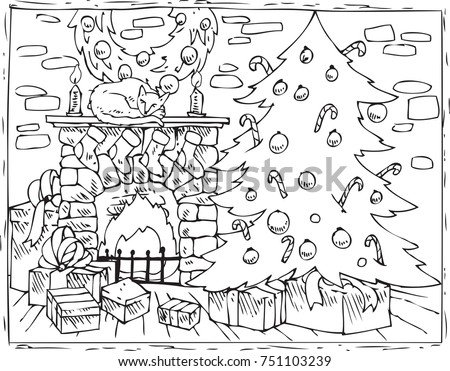 Coloring Book Page Christmas Composition Christmas Stock