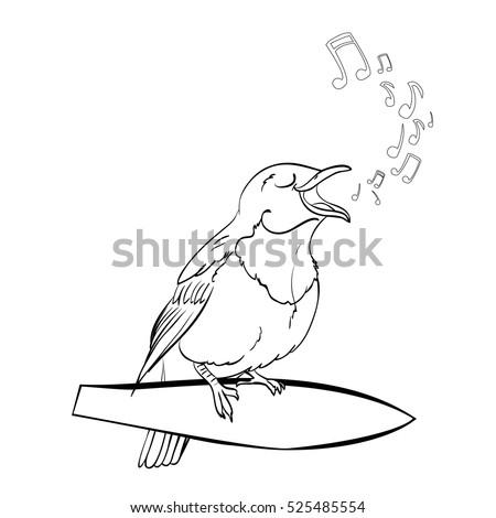 Vector Singing Nightingale Bird Cartoon Character Stock Vector