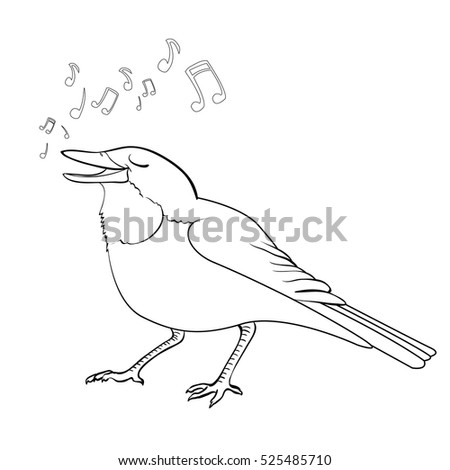 Coloring Book Page Cute Cartoon Vector Nightingale Character