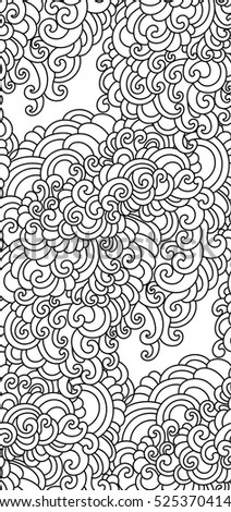 Coloring book page. Doodle pattern. Vector illustration hand drawn. Thin line drawing. Swirls seamless background pattern , oriental style.