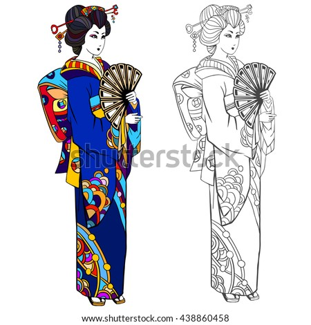 Coloring book page for adult. Black ink illustration, contour drawing for coloring. Japanese woman in a kimono. Hand drawn artwork. - stock vector