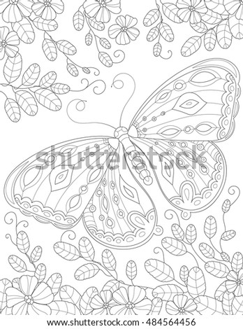Coloring Book Page For Adult With Butterfly Flowers And Foliage Vector Black White Pattern