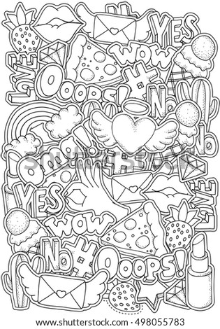 Coloring Book Page Adult Fashion Patch Stock Vector 498055783 90s Coloring Pages