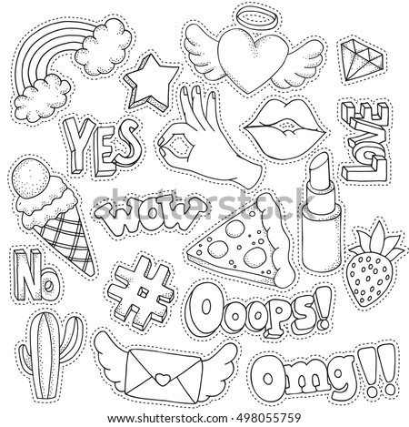 Coloring Book Page Adult Set Fashion Stock Vector 498055759 90s Coloring Pages