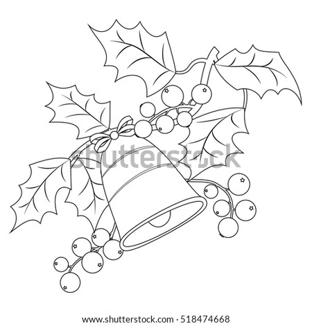 coloring book page for adults and children christmas holly berry branch with bells vector