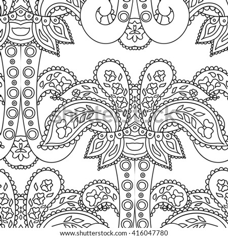 Coloring book page for adults - zendala, doodle. Joy to adult colorists, who like art, relax and meditation. Vector. Abstract vector decorative ethnic flower black and white seamless pattern. - stock vector