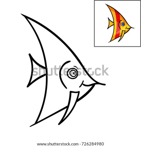 Coloring Book Page For KidsCute Cartoon Fish Vector IllustrationHand Drawn Doodle