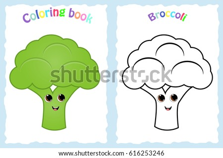 Coloring Book Page For Preschool Children With Colorful Broccoli And Sketch To Color