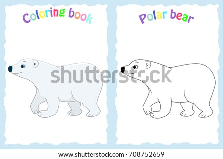 Coloring Book Page For Preschool Children With Colorful Polar Bear And Sketch To Color Arctic