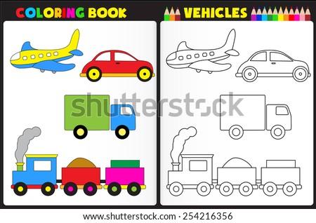 coloring book page preschool children colorful stock vector 254216356 shutterstock. Black Bedroom Furniture Sets. Home Design Ideas