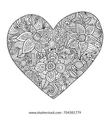 Coloring book page heart with doodles flowers and floral ornaments inside of it