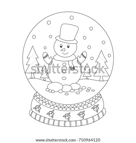 Coloring Book Page Of Christmas Snow Globe With Man Hand Drawn Vector Illustration