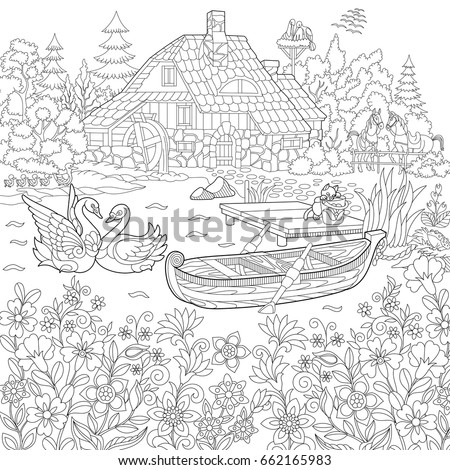 Coloring Book Page Of Rural Landscape Flower Meadow Lake Farm House Ducks