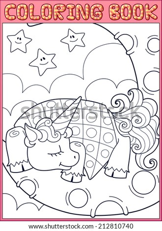 Coloring book page. Sleeping little unicorn from fairy tale on the moon. - stock vector