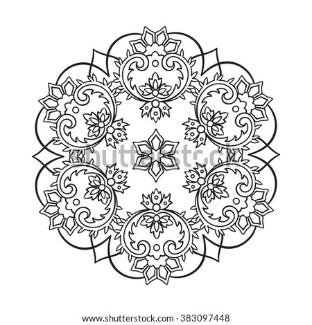 Coloring book pages for kids and adults. Hand drawn abstract design. Decorative Indian round lace ornate mandala. Snowflake - stock vector